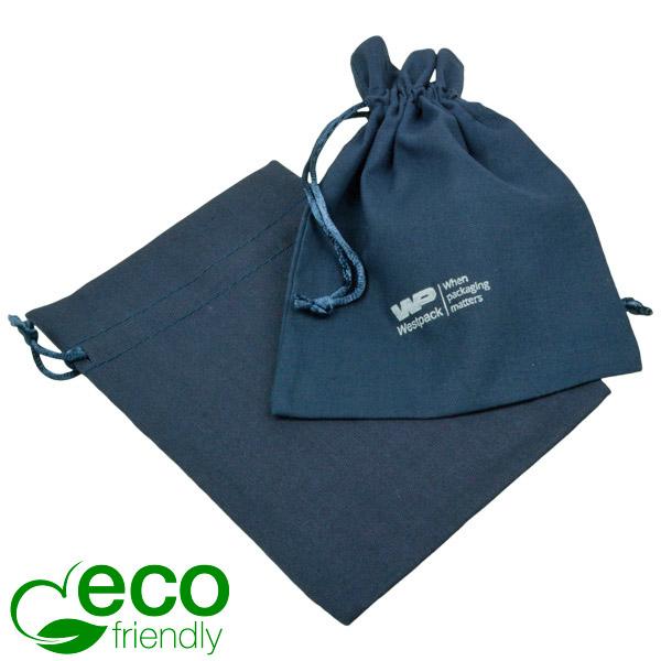 ECO Katoenen sieradenzakje, medium Donkerblauw biologisch katoen met satijn trekkoord 120 x 170