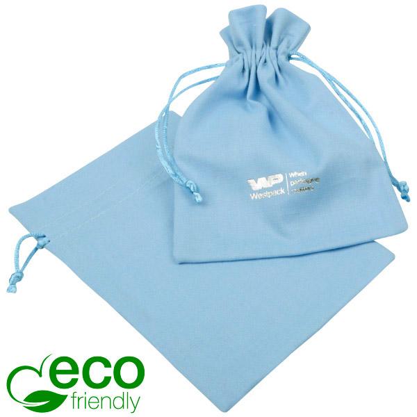 ECO Katoenen sieradenzakje, medium Lichtblauw biologisch katoen met satijn trekkoord 120 x 170