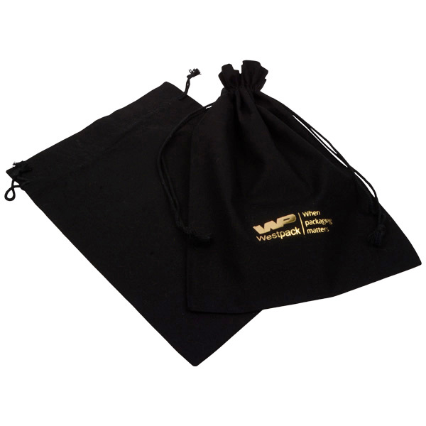 Fairtrade Pochettes en coton, grandes Coton Noir, avec cordon tressé 180 x 240