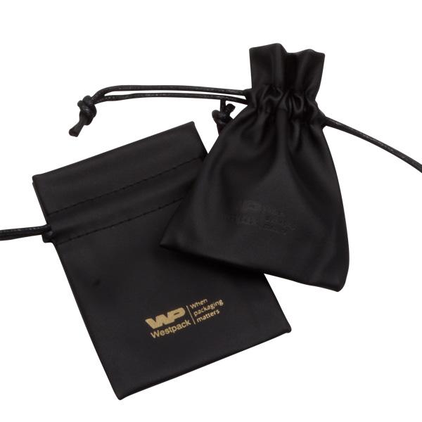 Kunstleren sieradenzakjes, Mini Zwart nappa kunstleerleer 70 x 90
