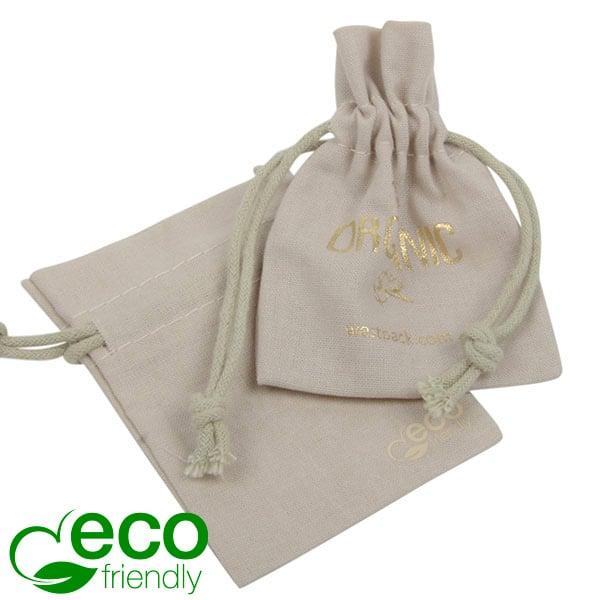 ECO Katoenen sieradenzakje, mini Zandkleurig eco katoen met katoenen trekkoordje 70 x 90