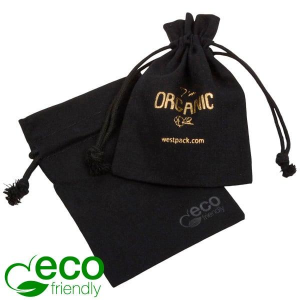 ECO Katoenen sieradenzakje, klein Zwart biologisch katoen met katoenen trekkoordje 90 x 120
