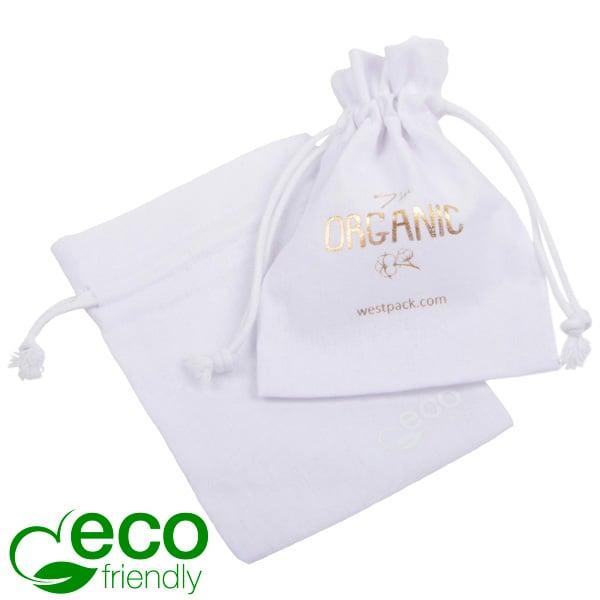 ECO Pochette en coton pour bijoux, petite Coton biologique blanc avec cordon en coton 90 x 120