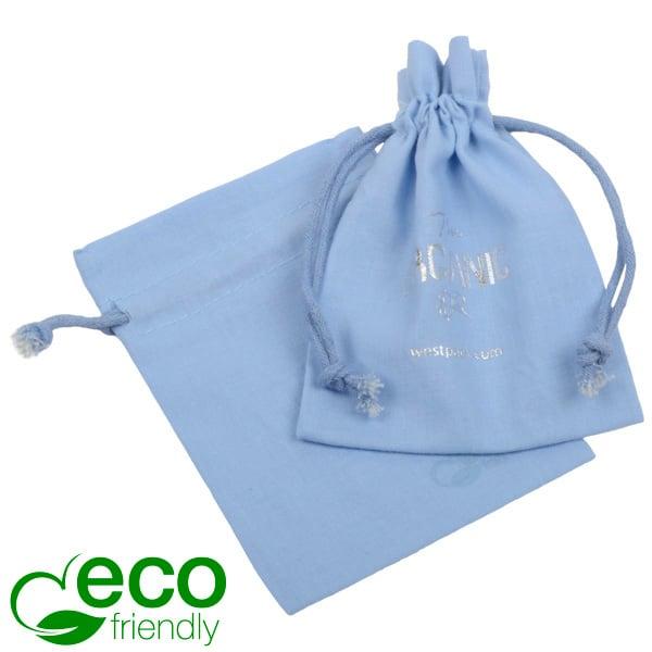 ECO Katoenen sieradenzakje, klein Lichtblauw biologisch katoen, katoenen trekkoordje 90 x 120