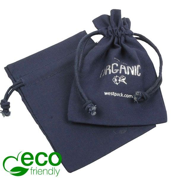 ECO Pochette en coton pour bijoux, moyenne Coton écologique bleu foncé avec cordon en coton 120 x 170