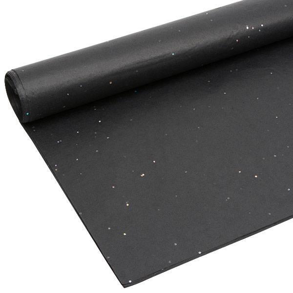 Zijdevloeipapier met glitters, 240 vellen Zwart 760 x 505 17 gsm