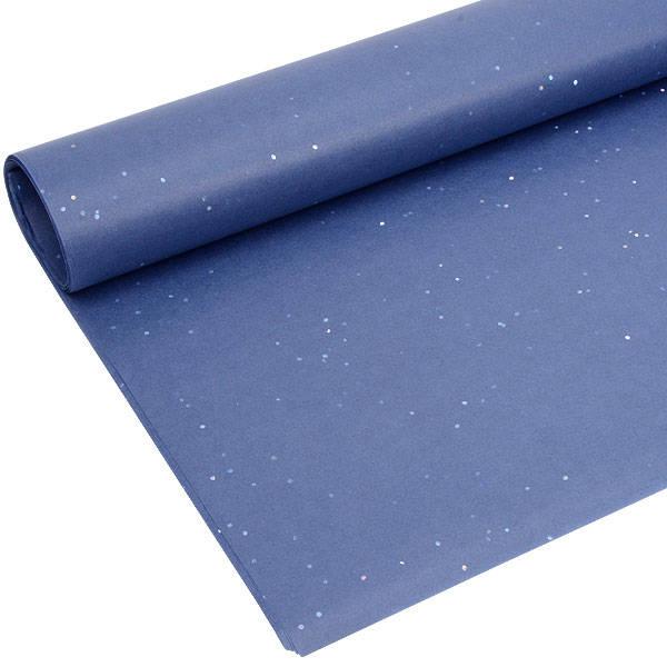 Zijdevloeipapier met glitters, 240 vellen Donkerblauw 760 x 505 17 gsm