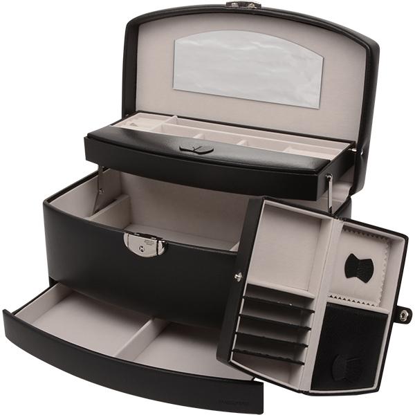 Coffret à bijoux avec étui de voyage N°. 821 Similicuir noir / Intérieur velours gris 282 x 173 x 149