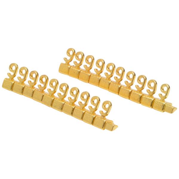 Chiffres prix de luxe pour bijoux 8 mm, 20 pcs Nº 9, Couleur or