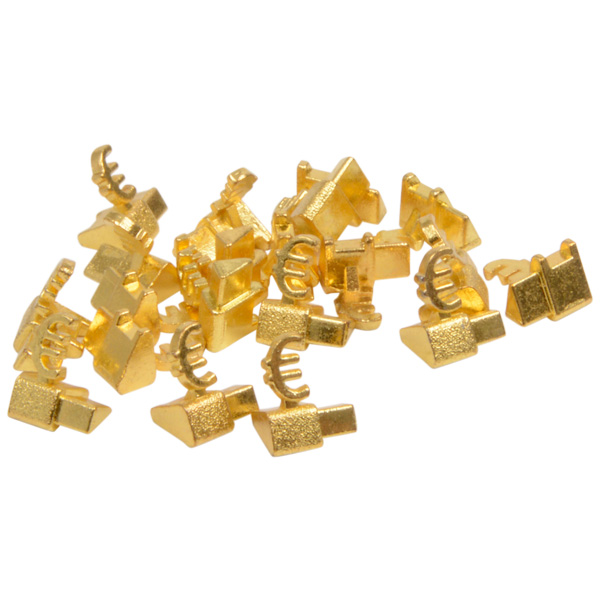 Chiffres prix de luxe pour bijoux 8 mm, 20 pcs Cube de départ avec €, Couleur or