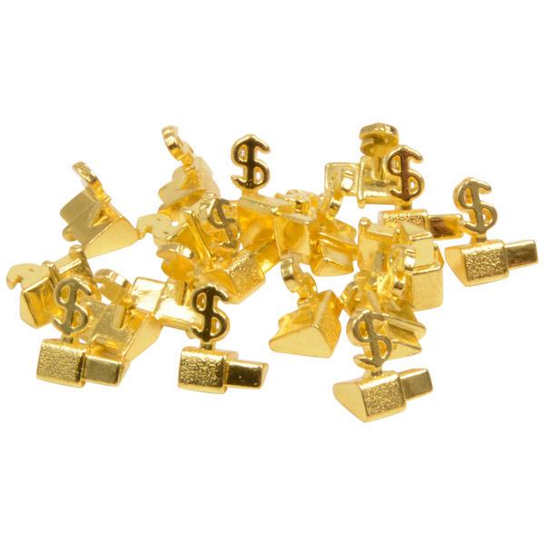 8 mm Luxe prijsblokjes voor sieraden, 20 st. Startblokje met $, Goudkleurig