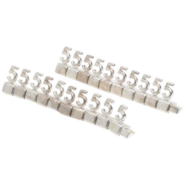 8 mm Luxe prijsblokjes voor sieraden, 20 st. Nr. 5, Zilverkleurig