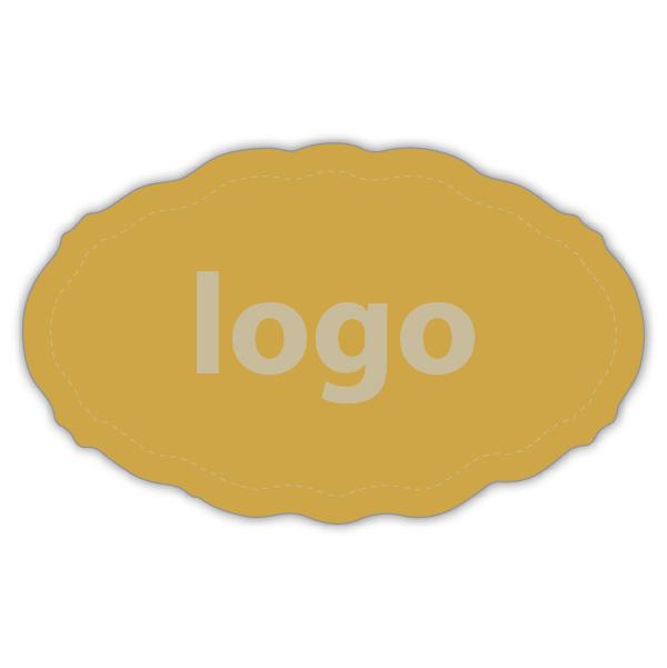 Etiket met logo 001 - Ovaal, met geschulpte rand Mat goudkleurig etiket met uw logobedrukking 44 x 27