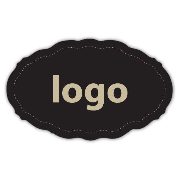 Etiquettes adhésives 001 - Ovale festonnée Noir 44 x 27