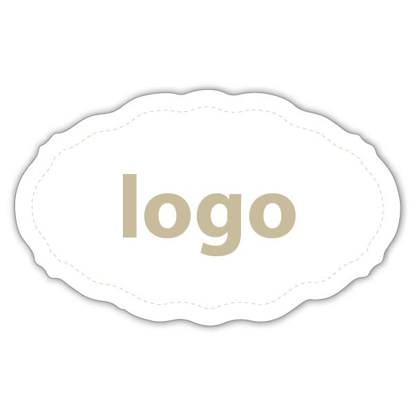 Etiket met logo 001 - Ovaal, met geschulpte rand Mat wit etiket met uw logobedrukking 44 x 27