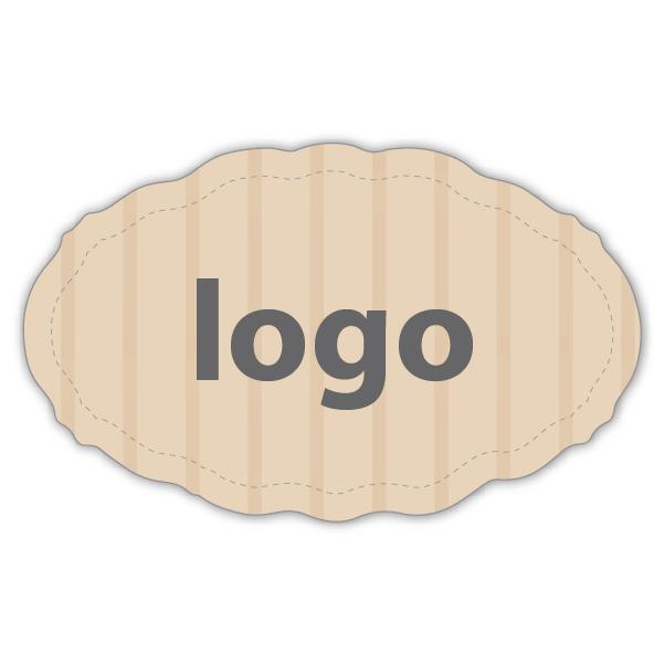 Etiket met logo 001 - Ovaal, met geschulpte rand Mat naturel etiket met uw logobedrukking 44 x 27