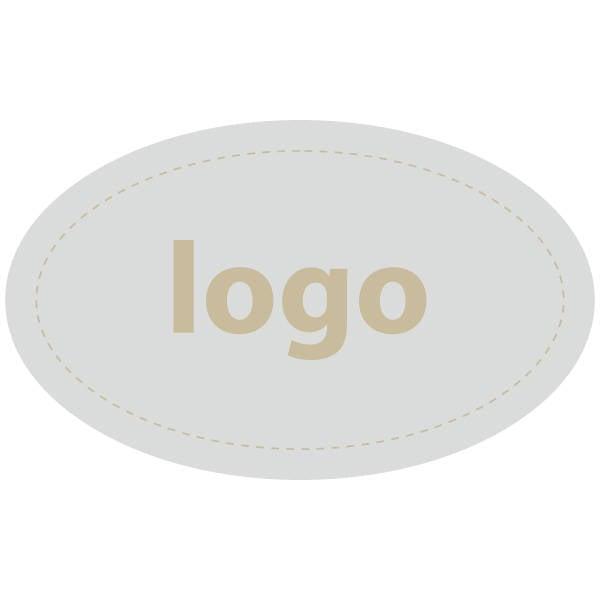 Etiket met logo 002 - Ovaal Mat zilverkleurig etiket met uw logobedrukking 39 x 24