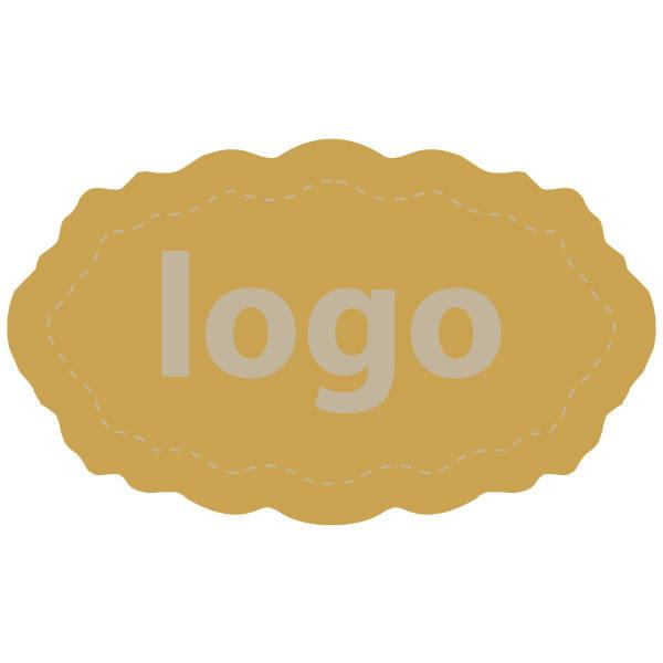 Etiquettes adhésives 003 - Ovale festonnée Doré 32 x 19