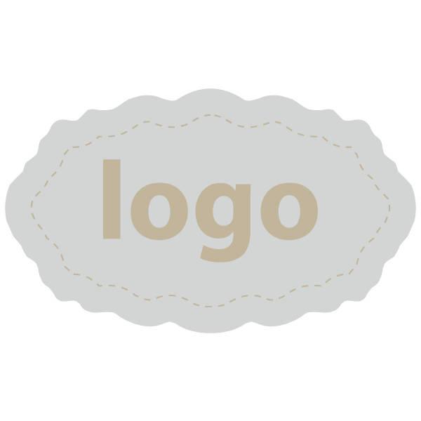 Etiket met logo 003 - Ovaal, met geschulpte rand Mat zilverkleurig etiket met uw logobedrukking 32 x 19