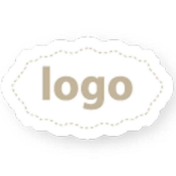 Etiket met logo 003 - Ovaal, met geschulpte rand Mat wit etiket met uw logobedrukking 32 x 19