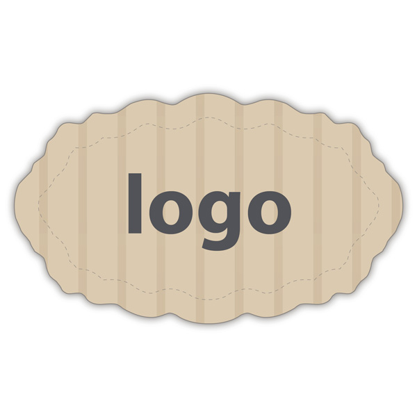 Etiket met logo 003 - Ovaal, met geschulpte rand Mat naturel etiket met uw logobedrukking 32 x 19