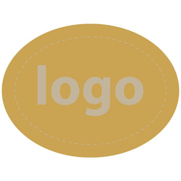 Etiket met logo 004, Ovaal Mat goudkleurig etiket met uw logobedrukking 28 x 21