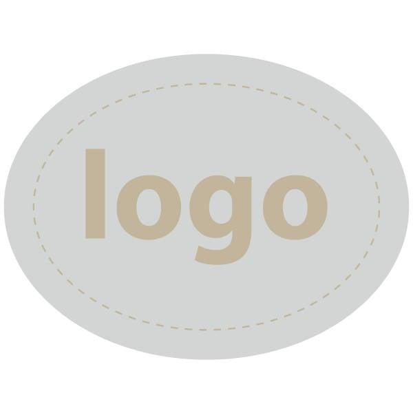 Etiket met logo 004, Ovaal Mat zilverkleurig etiket met uw logobedrukking 28 x 21