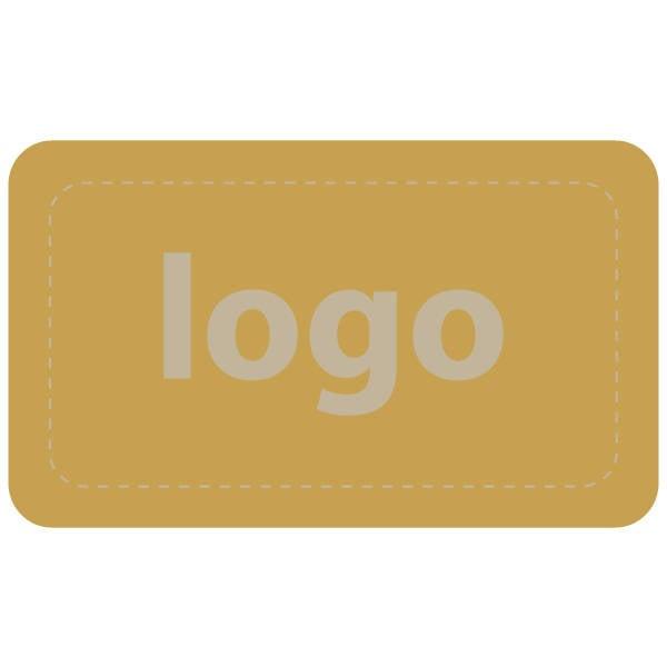 Etiket met logo 005 - Rechthoek, afgeronde hoeken Mat goudkleurig etiket met uw logobedrukking 32 x 19