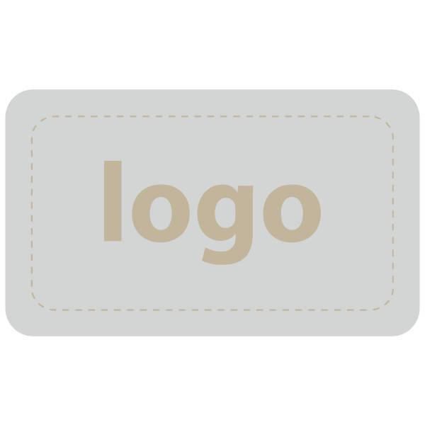 Etiket met logo 005 - Rechthoek, afgeronde hoeken Mat zilverkleurig etiket met uw logobedrukking 32 x 19