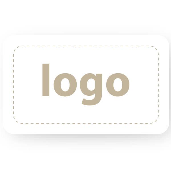 Etiket met logo 005 - Rechthoek, afgeronde hoeken Wit etiket met uw logobedrukking 32 x 19