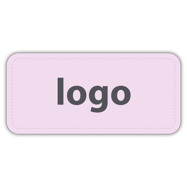 Etiket met logo 006 - Rechthoek, afgeronde hoeken Mat lichtroze etiket met uw logobedrukking 30 x 14