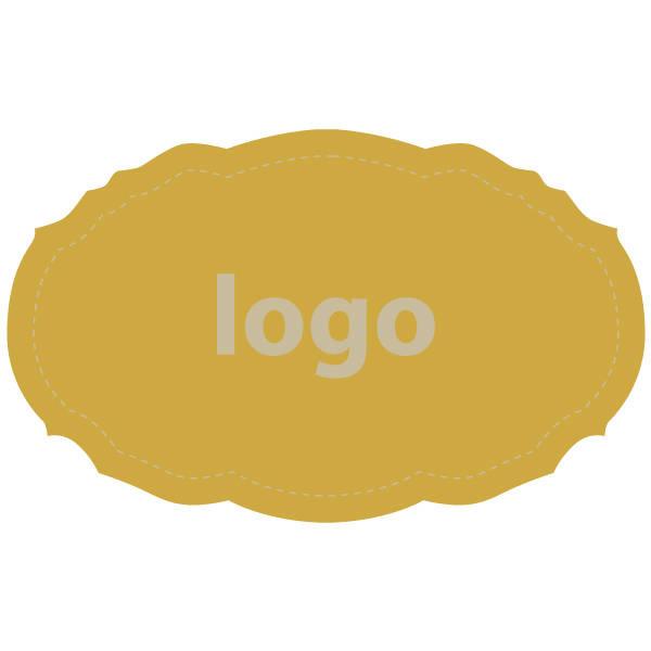 Etiquettes adhésives 007 - Ovale festonnée Doré 49 x 30
