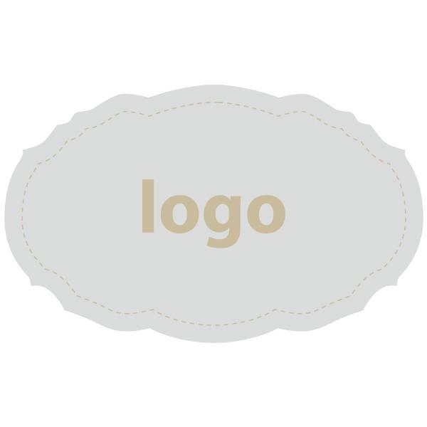 Etiket met logo 007, Ovaal met geschulpte rand Mat zilverkleurig etiket met uw logobedrukking 49 x 30