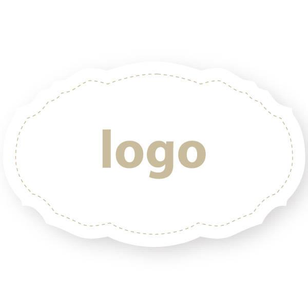 Etiket met logo 007, Ovaal met geschulpte rand Wit etiket met uw logobedrukking 49 x 30