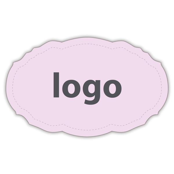 Etiket met logo 007, Ovaal met geschulpte rand Mat lichtroze etiket met uw logobedrukking 49 x 30