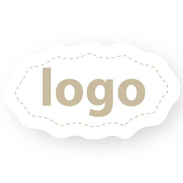 Etiket met logo 009, Ovaal met geschulpte rand Wit etiket met uw logobedrukking 29 x 16