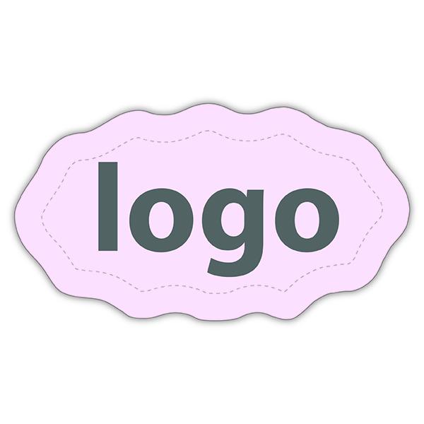 Etiket met logo 009, Ovaal met geschulpte rand Mat lichtroze etiket met uw logobedrukking 29 x 16