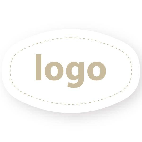 Etiket met logo 010, Ovaal, met afgestompte zijde Wit etiket met uw logobedrukking 33 x 20