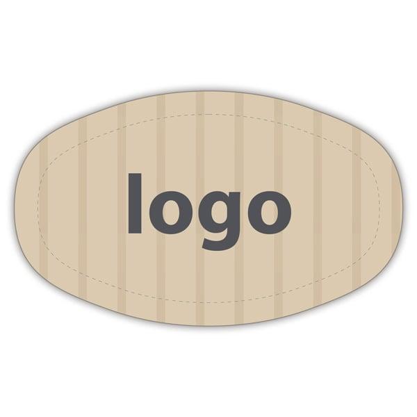 Etiket met logo 010, Ovaal, met afgestompte zijde Mat naturel etiket met uw logobedrukking 33 x 20