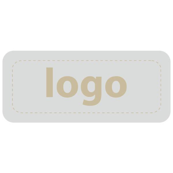 Etiket met logo 011 - Rechthoek, afgeronde hoeken Mat zilverkleurig etiket met uw logobedrukking 35 x 15