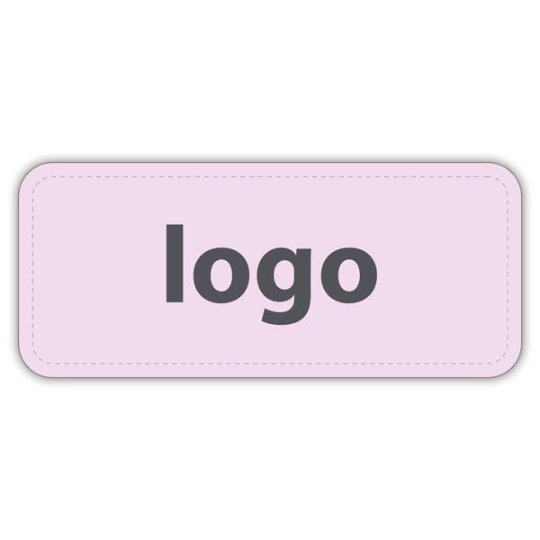 Etiket met logo 011 - Rechthoek, afgeronde hoeken Mat lichtroze etiket met uw logobedrukking 35 x 15