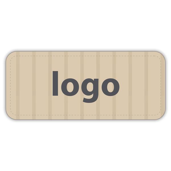 Etiket met logo 011 - Rechthoek, afgeronde hoeken Mat naturel etiket met uw logobedrukking 35 x 15