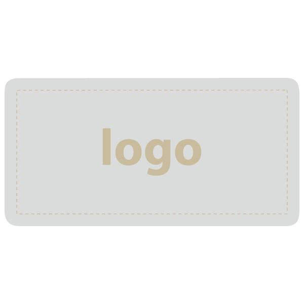 Etiket met logo 016 - Rechthoek, afgeronde hoeken Mat zilverkleurig etiket met uw logobedrukking 50 x 25