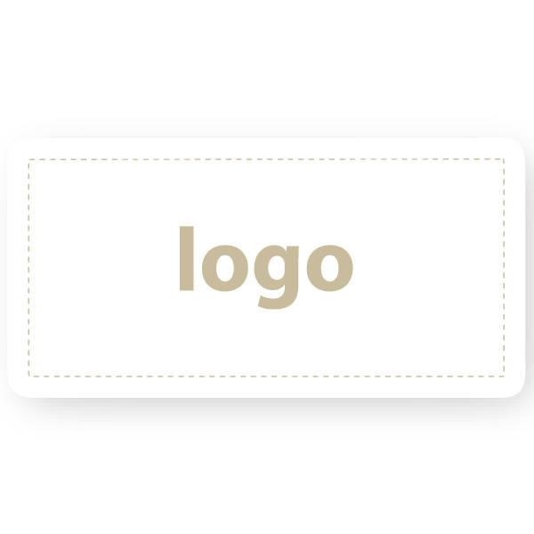 Etiket met logo 016 - Rechthoek, afgeronde hoeken Wit etiket met uw logobedrukking 50 x 25
