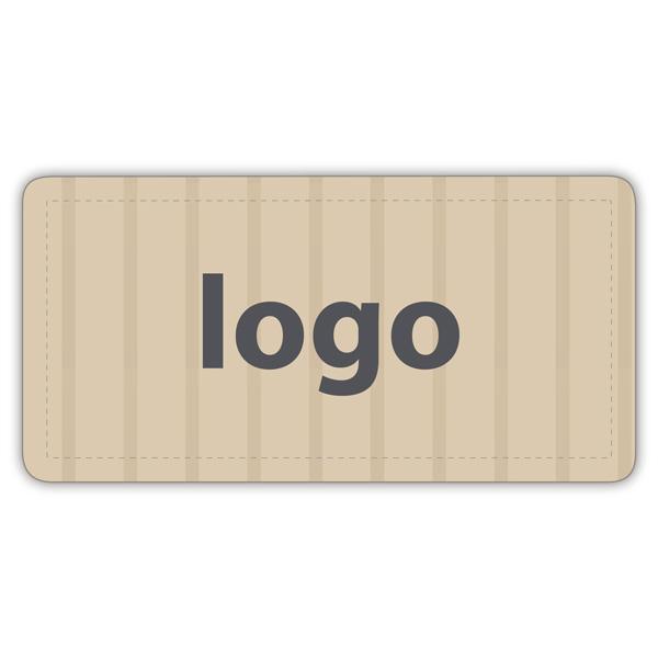 Etiket met logo 016 - Rechthoek, afgeronde hoeken Mat naturel etiket met uw logobedrukking 50 x 25
