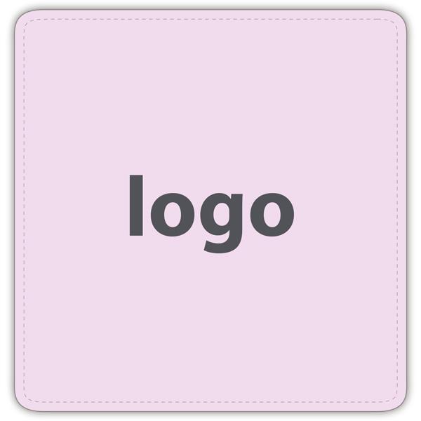 Etiket met logo 017 - Vierkant, afgeronde hoeken Mat lichtroze etiket met uw logobedrukking 42 x 41