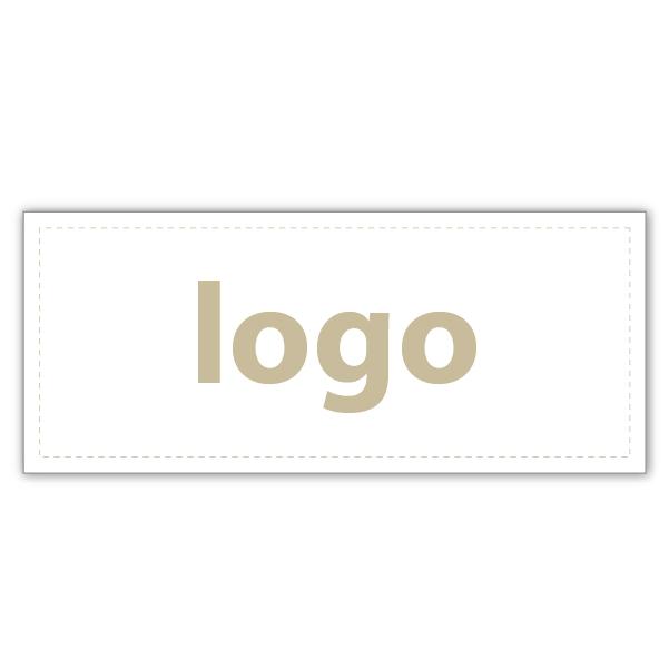 Etiket met logo 019 - Rechthoekig, scherpe hoeken Wit etiket met uw logobedrukking 38 x 16
