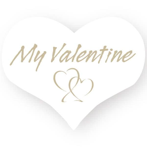 Voorgedrukt etiket My valentine, hartvormig Wit etiket met bedrukking 28 x 22