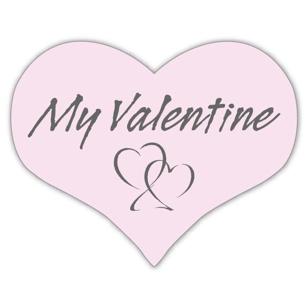 Voorgedrukt etiket My valentine, hartvormig Mat lichtroze etiket met bedrukking 28 x 22