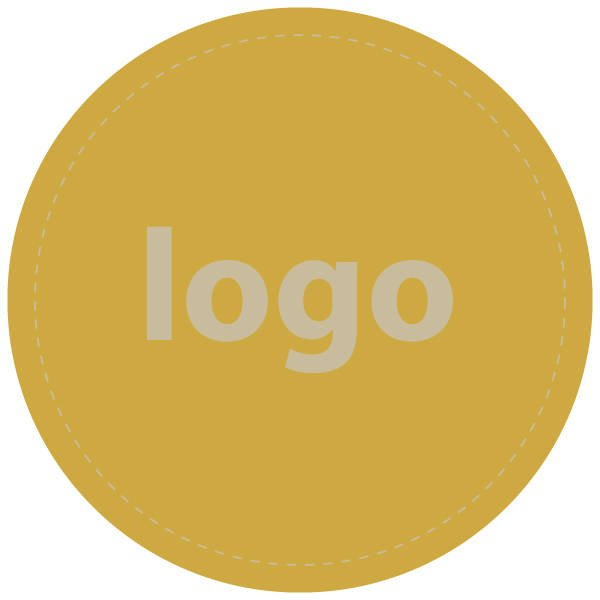 Etiket met logo 022, Rond Mat goudkleurig etiket met bedrukking 32 x 32